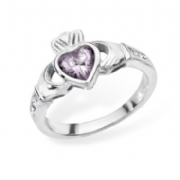 Sterling silver rubover set lavender cubic zirconia claddagh ring